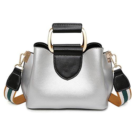 Meaeo Nuevo Bolso De Hombro Messenger Bag Fashion Ancho Cinta Pequeño Bolso Cuadrado, Rojo Silver