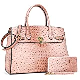 Women Top Handle Satchel Purse Large Handbag 2 Piece Wallet Set with Shoulder Strap Pink