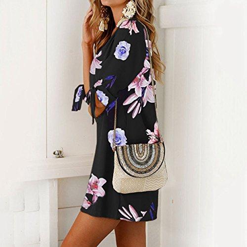 Fiesta Largos Verano Irregular Cuello Vestidos Playa Dobladillo EUZeo Casual Fiesta Elegante de Sexy Vestido redond Falda 2018 Vestidos con Floral Mujer Traje Negro de Estampado de Z5qw6ZT