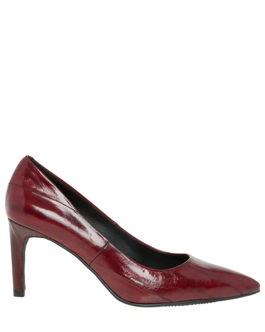 LE CHÂTEAU Women's Pointy Toe Leather Pump,6,Wine