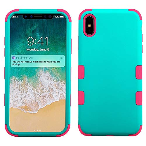 Mybat Apple-iPhone Xs Max Rubberized Teal Green/Electric Pink TUFF Hybrid Phone Protector Cover [Military-Grade Certified]
