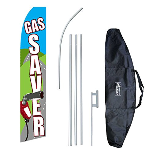 Swooper Feather Flag and Case Complete Set...includes 12-foot Flag, 15-foot Pole, Ground Spike, and Carrying/Storage Case (Teardrop Saver)