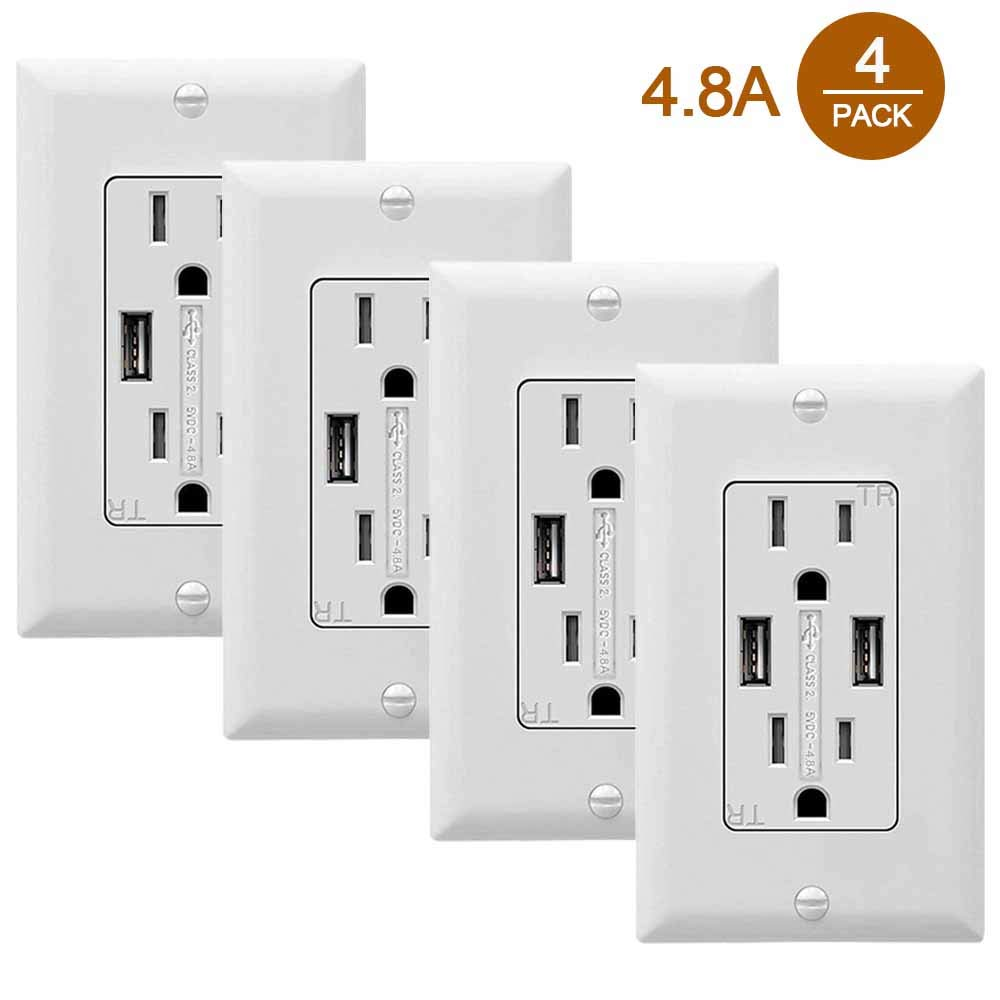 SZICT USB Outlet Receptacle, 4 Pack 4.8A USB Wall Charger Outlet 15 A Tamper Resistant Receptacle, UL-Listed, White