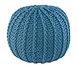 GRAN Cotton Pouf Ottoman Foot Stool & Rest - 18'' Diameter 14'' Height - Round Hand Knit Floor Footstool for Living Room, Bedroom and under Desk