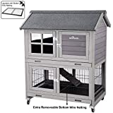 Aivituvin [Upgrade Version] Rabbit Hutch Bunny Hutch, Rabbit Cage with Two No Leak Trays, Indoor & Outdoor Cage for Bunny, Upgraded Bottom Wire Netting