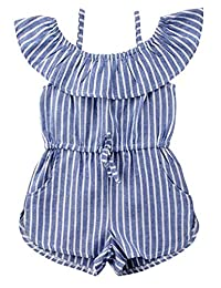 SUPEYA Baby Girls Off Shoulder Sleeveless Stripe Romper Backless Ruffle Jumpsuit