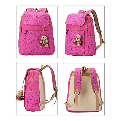 5828cb8736d8 durable modeling Veenajo Girls Lightweight Canvas School Backpack Set Cute  Patterned Bookbag Shoulder Bags