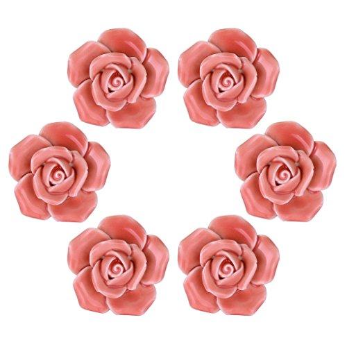 (WOLFTEETH Pink Elegant Rose Flower Knobs Vintage Ceramic Pulls Kitchen Cabinet Dressing Table Dresser Handle 6pcs)