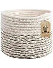 "INDRESSME Small Cotton Rope Basket - Cute Woven Basket Toy Storage Bin Closet Storage Baskets Desk Basket Organizer Baby Nursery Hamper Bins, 9.4""L x 9.4""W x 7.1"" H"