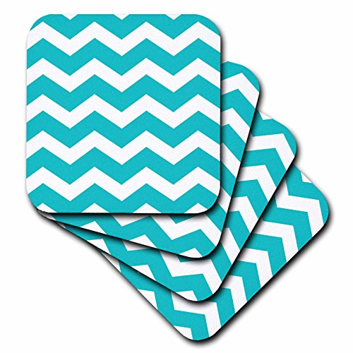 3dRose cst 179669 1 Turquoise Chevron Coasters