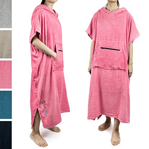 SUN CUBE Surf Poncho Changing Robe with Hood |Terry Cotton Changing Towel (Pink)