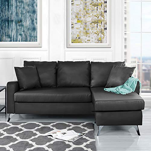 Divano Roma Furniture Bonded Leather Sectional Sofa - Small Space  Configurable Couch (Black)