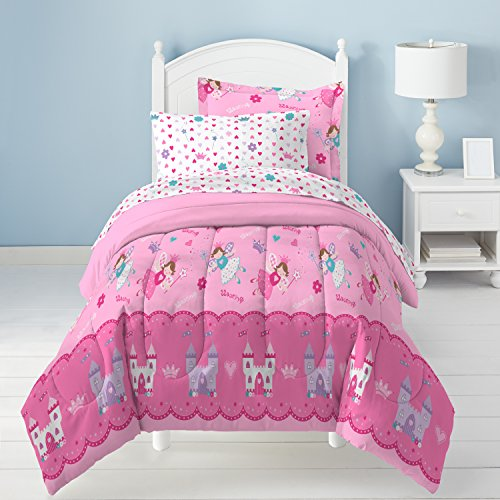 5 Piece Kids Girls Blush Pink Magical Princess Comforter Twin Set, Blue Flying Fairy Godmothers Bedding Fairyland Fantasy Themed Bed In Bag Castle Scepter Twinklings Stardust Hearts Flowers, (Scepter Bag)