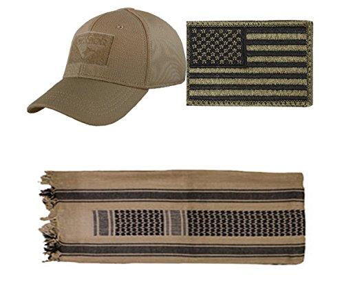 Flex Brown Cap Small/Medium + USA PATCH OD GREEN LEFT + Khaki/Black (Black Stealth Fitted Hat)