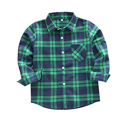 Littay Kids Toddler Boys Girls Plaid T Shirt Checks Tops Blouse Clothes Outfits