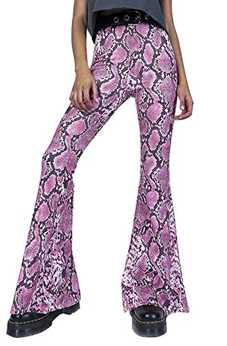 doublebabyjoy Women Leopard Print High Waist Flare Pants Lady Floor-Length Bell Bottom Autumn Winter Wide Leg Trousers (Pink, S) ()