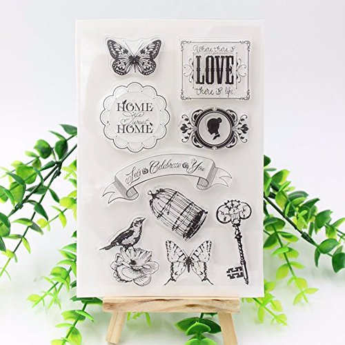YOFIT 8 Sheets Silicone Clear Stamps for DIY Scrapbooking and Card Making Decorations With Butterfly,Love,Heart (8)