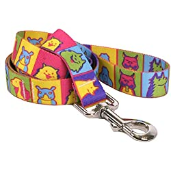 "Yellow Dog Design Pop Art Dogs Dog Leash, Large-1"" Wide and 5' (60"") Long"