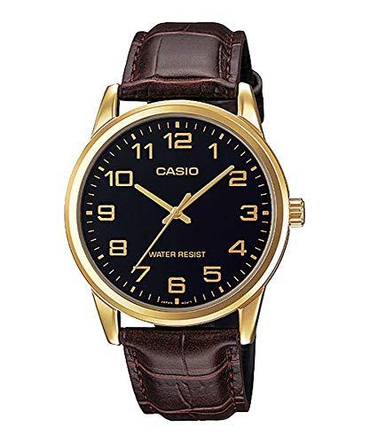 Casio Men's Brown Leather Strap Watch, Black Dial, MTP-V001GL-1B