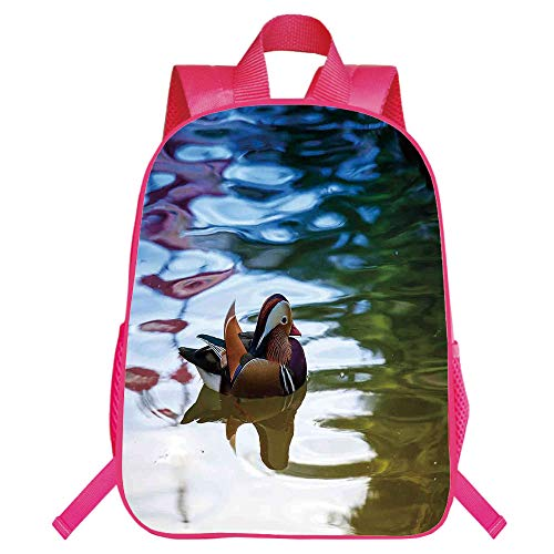 Personal Tailor Red Monolayer Rucksackk,Wildlife Decor,Chinese Mandarin Ducks Sail in River East Asian Winged Creature Peace Habitat,Multi,for Kids,Diversified Design.15.7