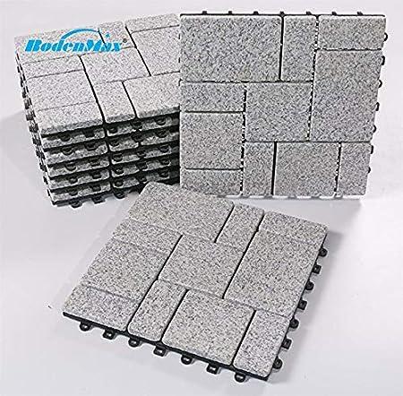 BodenMax LLGRAROMA-GRY-5 Baldosas de Granito para terraza, jardines, balcones, piscinas, saunas, interiores y exteriores. Granito gris. Set de 8 baldosas de granito de 30 cm x 30 cm x 2,5 cm.