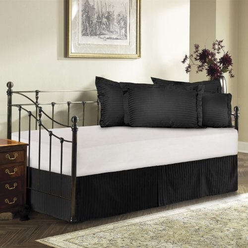 Harmony Lane Day Bed Tailored Bedskirt With 18'' Drop , Black Sateen stripe Bedskirt ( Available in 12 Colors)