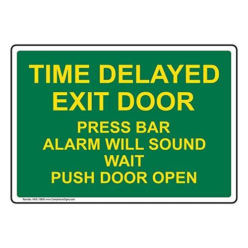 Time Delayed Exit Door Press Bar Alarm Will Sound Wait Push Door Open Label Decal, 5x3.5 in. 4-Pack Vinyl for Enter/Exit by ComplianceSigns