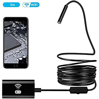 Jellas Wireless Endoscope - 8MM WiFi Borescope Inspection HD Camera Megapixels for iPhone, Samsung, Android IOS Smart Phone, Tablet and Windows (16.5 ft)