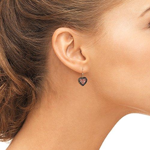 Diamond Heart Pink Tourmaline Earring