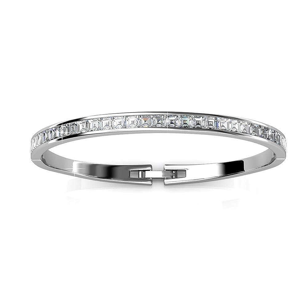 Bracelet jonc en argent plaqu/é rhodium 18 carats avec cristaux Swarovski pour femme