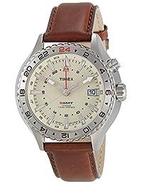 Timex Intelligent Quartz T2P426 Mens Intelligent Quartz 3GMT Brown Leather Strap Watch