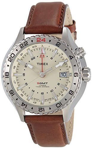 Timex-Intelligent-Quartz-T2P426-Mens-Intelligent-Quartz-3GMT-Brown-Leather-Strap-Watch
