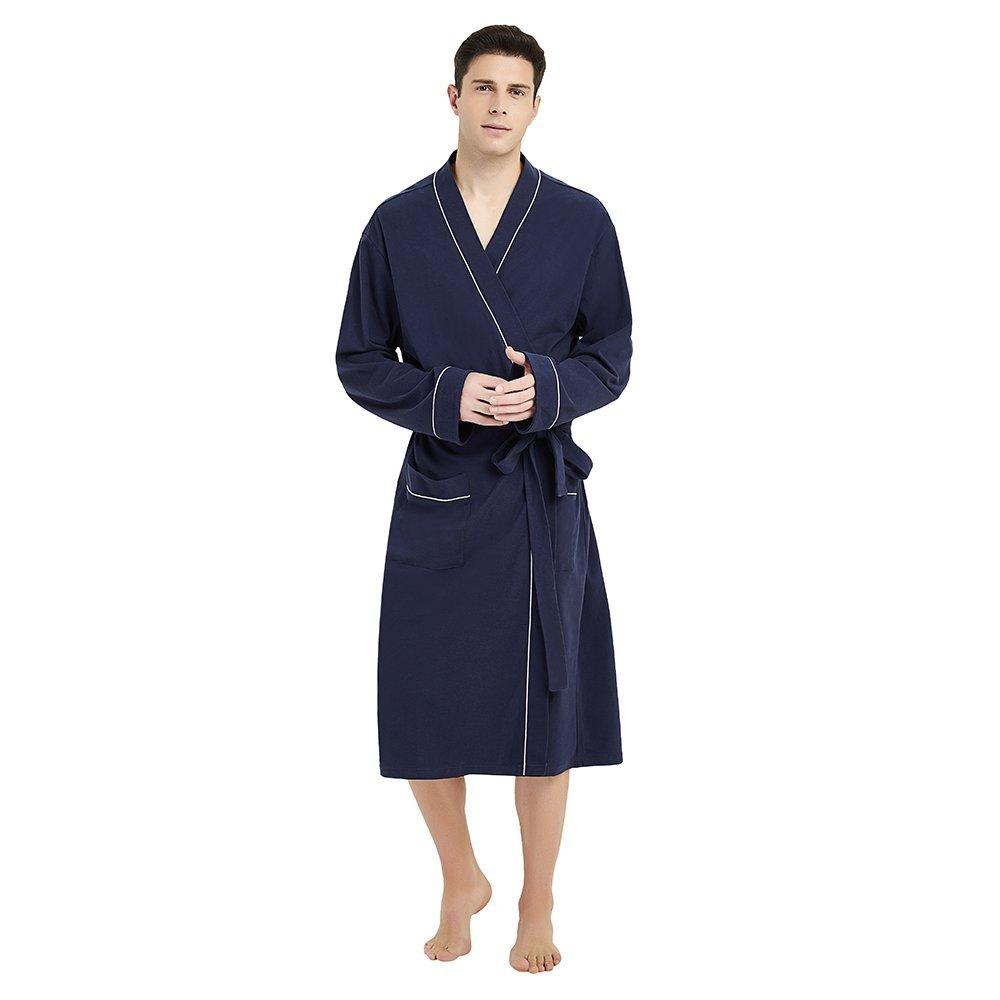 U2SKIIN Mens Cotton Robe Lightweight Knit Bathrobe (S/M,Navy Blue)