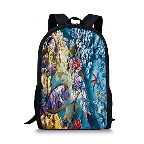 (Ocean Stylish School Bag,Exotic Coral Reefs Fish School Starfish Shallow Clean Lagoon Egyptian Red Sea Image for Boys,11''L x 5''W x 17''H)