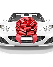 Mata1 Huge Car Bow (Red, 18 inch / 46 cm), Big Gift Wrapping Bow for Large Gift Decoration, Giant Indoor/Outdoor Bow with 2 Ribbon Tails and 2 Stickers (No Magnets that Scratch)