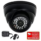 "VideoSecu Dome Security Camera 700TVL Built-in 1/3"" SONY Effio CCD Weatherproof Day Night 3.6mm Wide View Angle Lens IR for CCTV DVR Home Surveillance System with Bonus Power Supply AJ6"