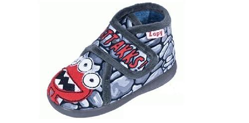 Zapatillas DE CASA NIÑO BOTÍN Velcro Gris ZAPY (18)