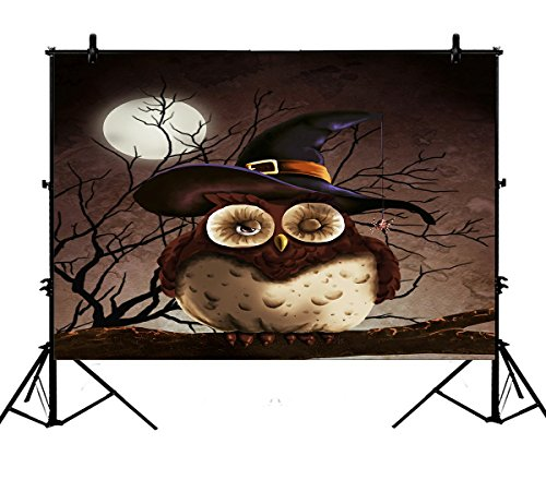 7x5ft Happy Festival Backdrops, Halloween Owl under the Full Moon Polyester Photography Backdrop Studio Prop Photo Background ()