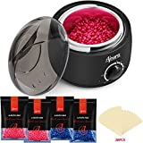 Wax Warmer Hair Removal Kit, Ajoura Waxing Kit with 4 Bags Hard Wax Beans (3.5oz/Bags) 20 Wax Sticks, Brazilian Painless Wax Warmer kit for Legs Eyebrows Armpit Bikini, Home Waxing Kit for Women Men