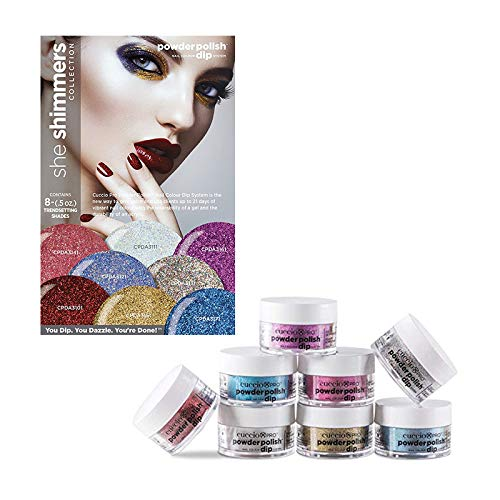 Cuccio Pro Powder Polish Dip System - She Shimmers Collection - 8 Piece Set - 0.5 oz / 14 g Each