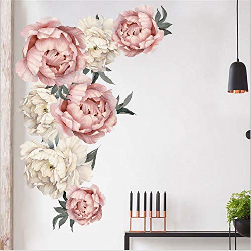 Prabahdak Peony Flowers Wall Sticker Waterproof PVC Peony Rose Flowers Wall Decals Removable Floral Wall Decor Sticker for Living Room Bedroom Nursery - Roses Decal