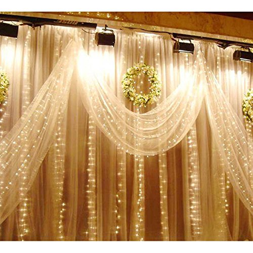 LIIDA Curtain Lights, LED Twinkle Lights 9.8 x 9.8ft Warm White Curtain Icicle Lights With 8 Modes Controller for Holiday, Party, Outdoor Wall, Wedding Decorations by LIIDA (Image #3)