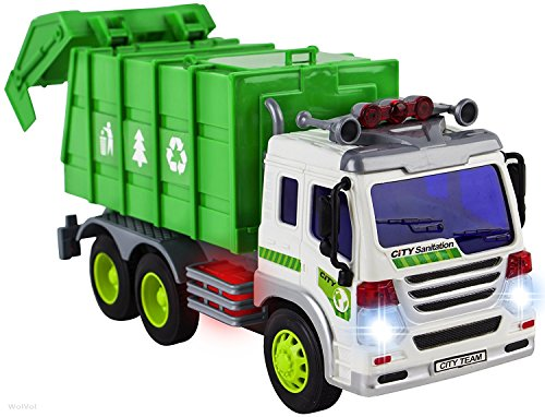 Price comparison product image WolVol Friction Powered Garbage Truck Toy With Lights and Sounds For Kids (Can Open Back)