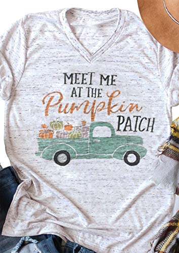 Meet Me at The Pumpkin Patch T Shirt Women Halloween Car Letter Print Blouse Top (XX-Large, White)]()