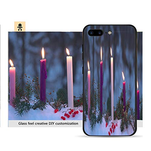 iPhone 7p / 8p Ultra-Thin Phone case Advent Candles Christmas Eve Prophecy Love Joy Peace Purity Resistance to Falling, Non-Slip, Soft, Convenient Protective case