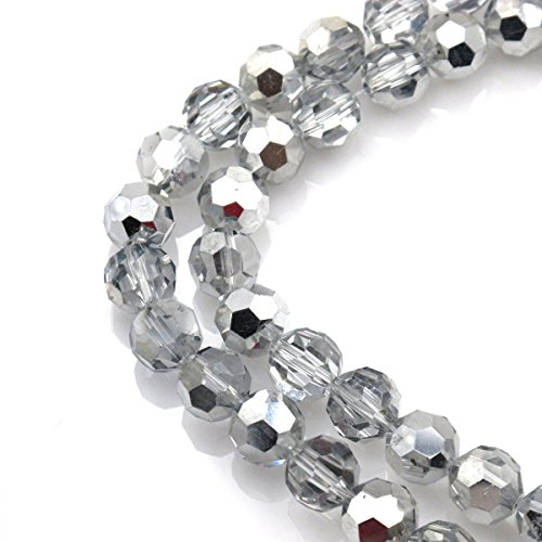 BRCbeads Gorgeous Faceted Silver AB Glass Beads Round Loose Beads 12mm Approxi 13 inch 30pcs 1 Strand per Bag for Jewelry (Gorgeous Glass Strand Necklace)
