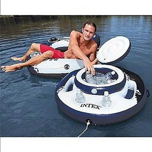 Intex Inflatable Lounge Water Pool Chill Beverage Floating Mega Ice Drink Cooler (Pool Mega)