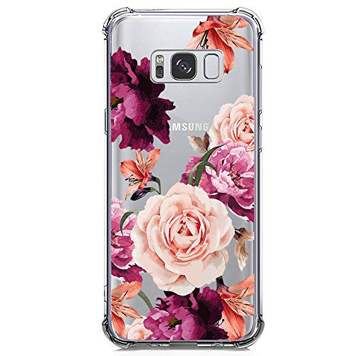Galaxy S8 Plus Case for Girls Women Clear with Flowers Design Shockproof Protective Case for Samsung Galaxy S8 Plus 6.2 Inch Cute Floral Pattern Print Flexible Soft Slim Fit Rubber Cell Phone Cover