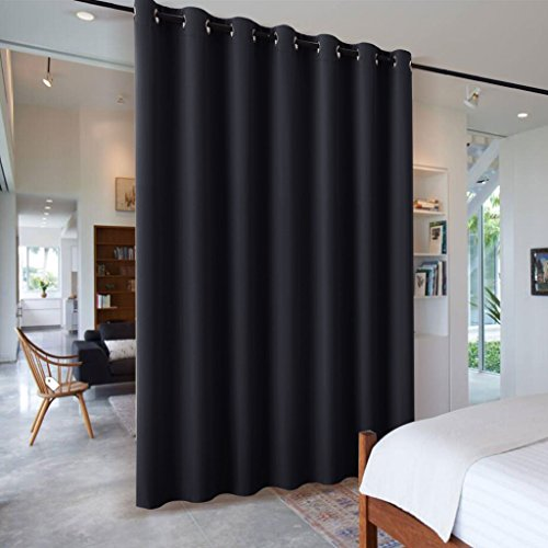 RYB HOME Blackout Thermal Insulated Blind Curtains Reduce Sunlight Furniture Protecting Portable Sliding Door Window Screen Storage Partition Room Divider, 8.3 ft Tall x 7 ft Wide, Black, 1 - Screen Black Panel
