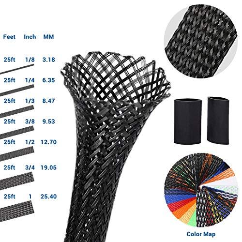 Wire Loom Braided Wire Sleeve PET Braided Wire Loom 0.75 Inch Pet Braided Cable Sleeve 25FT PET Expandable Braided Sleeving, Black